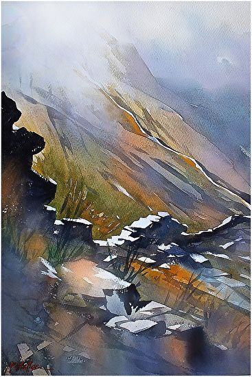 Up the Mourne Wall by Thomas W. Schaller Watercolor ~ 22 inches x 15 inches