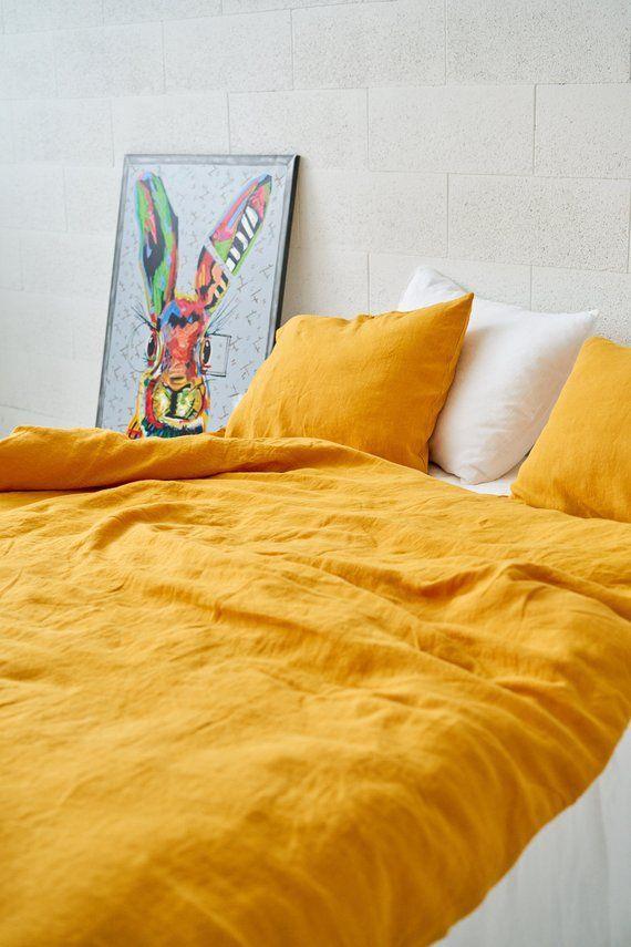 Yellow Pillowcase With Ties Mustard Pillow Cover Linen Etsy Linen Pillow Covers Duvet Covers Yellow Linen Pillow Cases