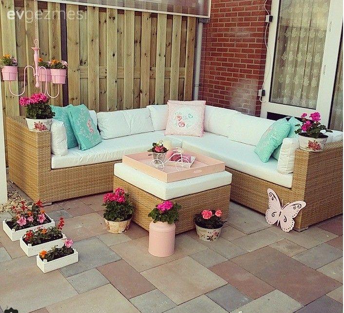 Bahçe, Balkon, Pembe, Mavi, Çiçekler