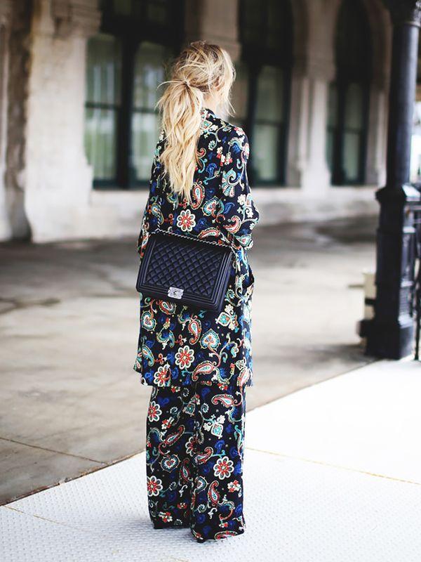 Paisley print ensemble + black structured bag