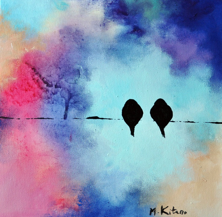 Lovebirds 88 | original oil painting on canvas | by Maria Kitano