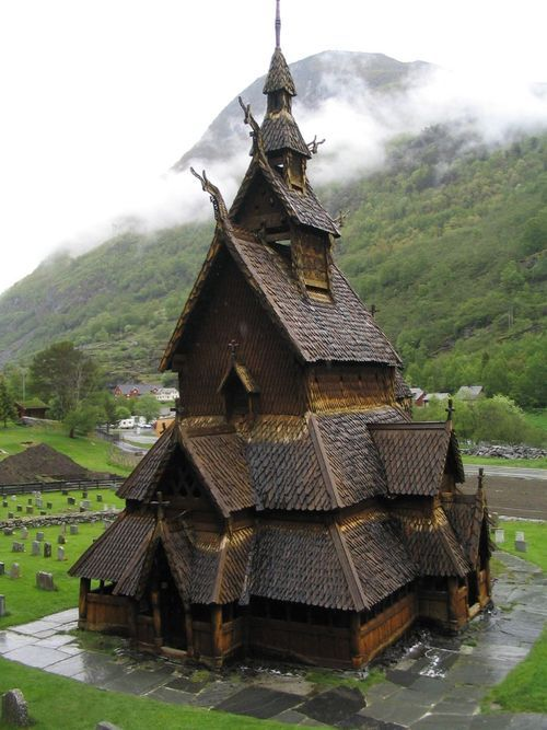 Borgund Stave Church, Borgund, Laerdahl, Norway was built in the 12th century and is a triple nave or basilica (nave, chancel and apse) church.