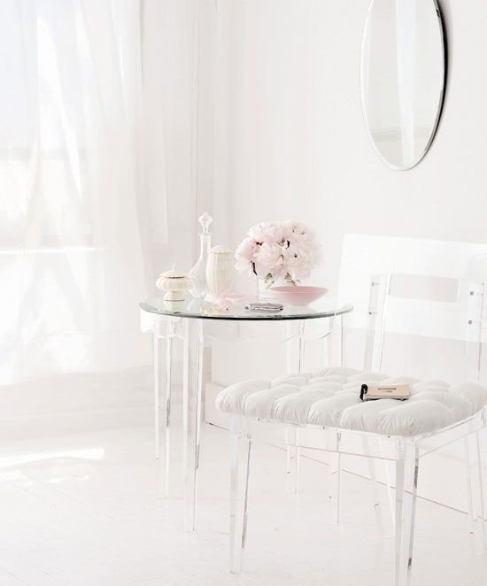 dreamy dreamy lucite chair and table pale pink accessories