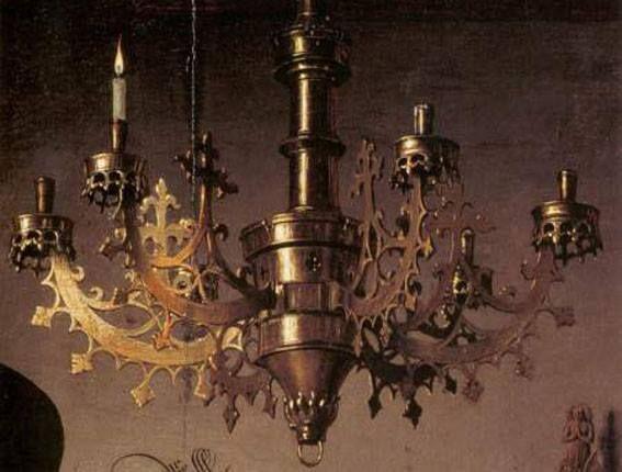 Particolari di opere: I coniugi Arnolfini. Jan van Eyck, 1434. National Gallery, Londra. Il lampadario: simboleggia la fiamma dell'amore, nelle famiglie fiamminghe si accendeva una candela il giorno del matrimonio, ma religiosamente significa la luce di Cristo che tutto vede. In ogni caso il lampadario è uno splendido esemplare di opera in bronzo, dipinto superbamente.