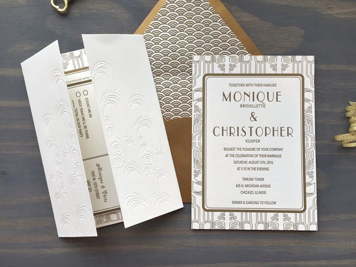 Art Deco Noveau Letterpress Wedding Suite, Gatsby, Luxury Wedding Invitation, Gold White, Titanic Era, Vintage Debossed, Custom by VioletPressandPaper on Etsy https://www.etsy.com/listing/261280663/art-deco-noveau-letterpress-wedding
