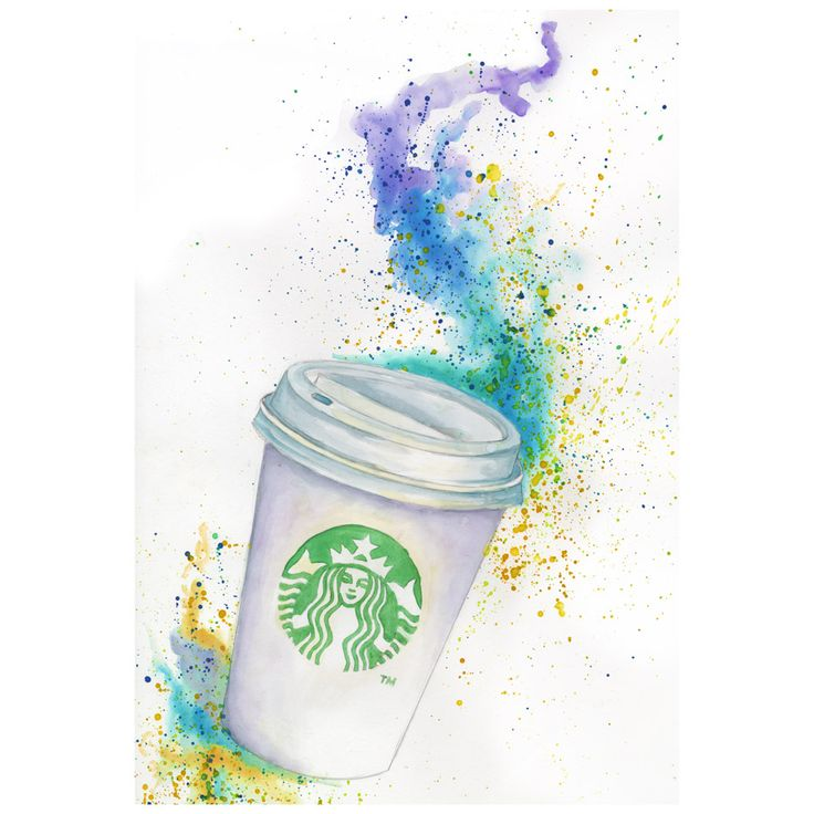 140 best starbucks art images on pinterest starbucks cup for Coffee watercolor
