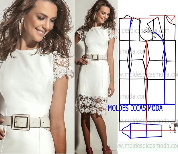 Comece por analisar de forma atenta o desenho da transformação do vestido com renda, para poder fazer a leitura de forma correta.