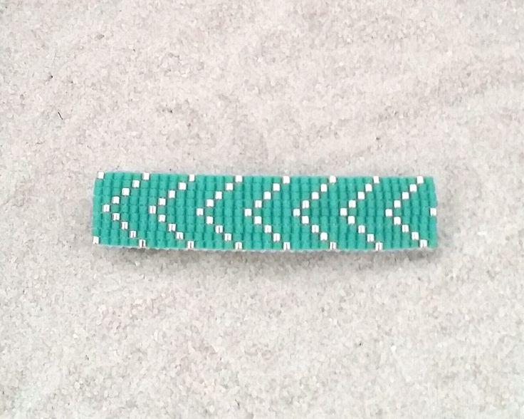 Barrette à cheveux en perle Miyuki turquoise , barrette à cheveux création my little papeterie : Accessoires coiffure par my-little-papeterie