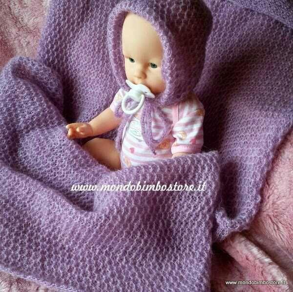 Copertina neonato lana baby blanket knitted www.mondobimbostore.it