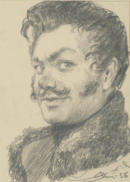 Николаев Андрей Владимирович (1922—2013) Васька Денисов. Эскизный портрет. Иллюстрация к роману «Война и мир». 1956 г. Бумага, графитный карандаш