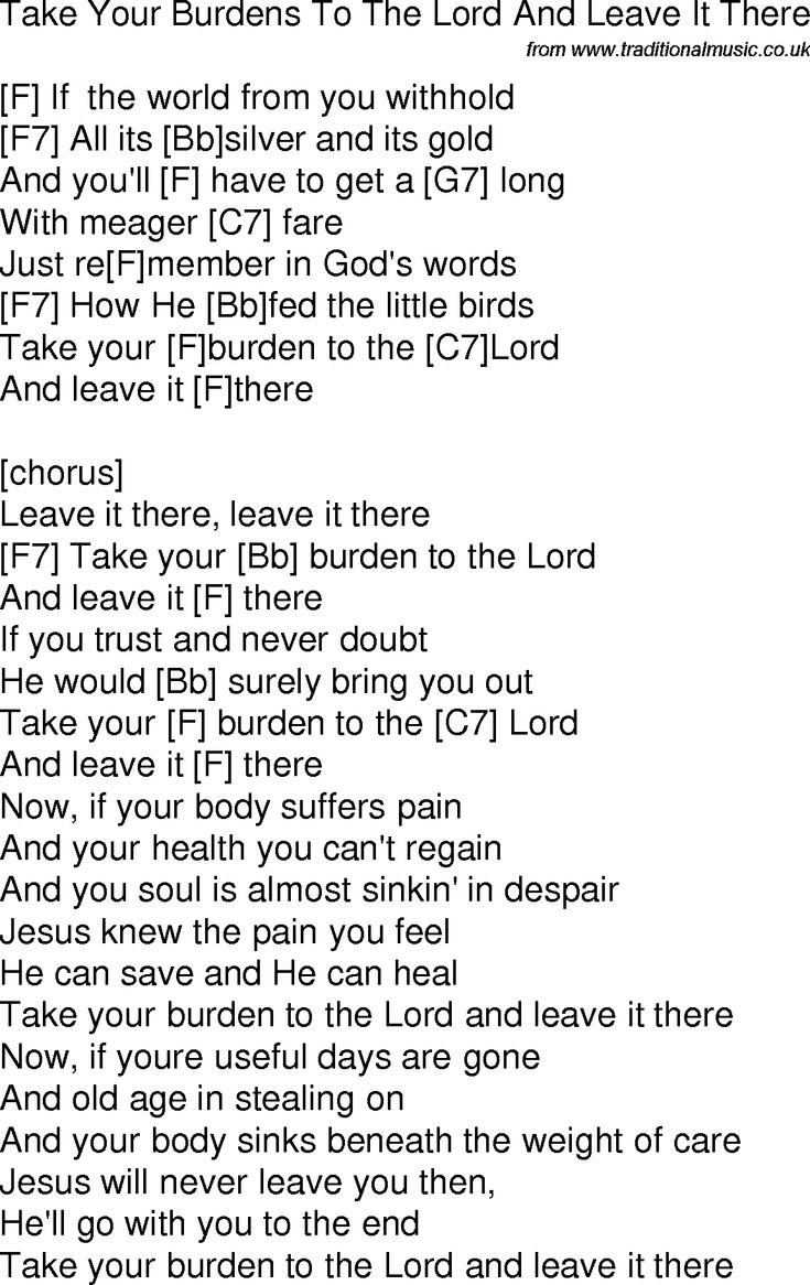 14 best guitar images on pinterest guitar chords guitars and lyrics old time song lyrics with chords for take your burdens to the lord and leave it hexwebz Choice Image