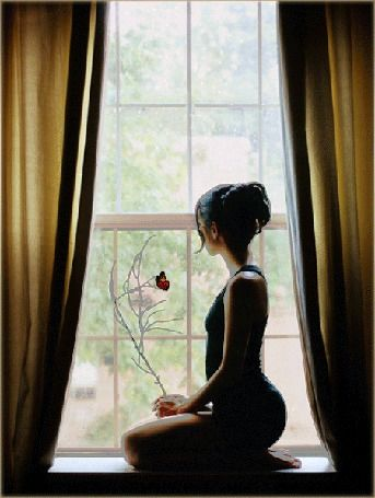 Девушка сидит на подоконнике у окна, на веточке в ее руках сидит бабочка, за окном идет дождь