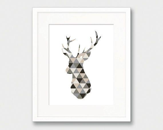 Deer Head Art Geometric Deer Head Print by thekismetprintpress