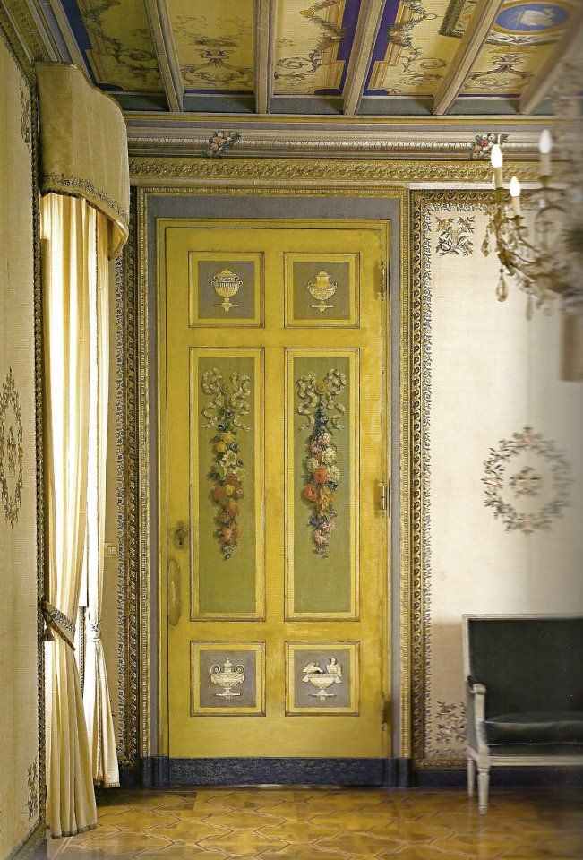 Incredible decorative painting on walls, door and ceiling; source unknown.