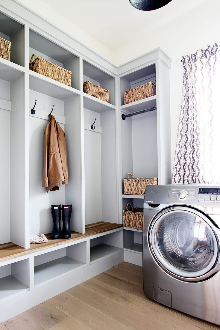 Built in lockers in our modern farmhouse laundry mudroom
