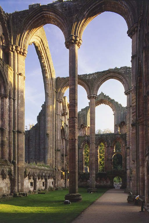 Fountains Abbey, England. My absolute favourite National Trust Property in North Yorkshire. Features in the documents of the Dissolution of the Monasteries. Lovely walks within and around the associated Studley estate.