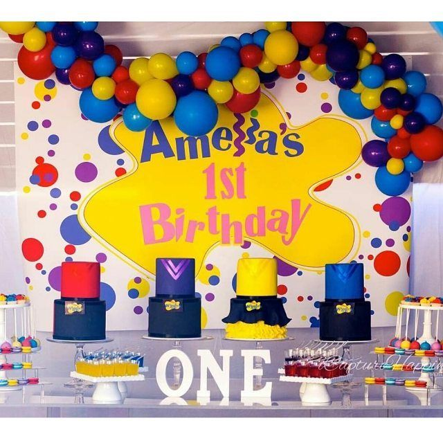 Our wiggles theme abstract balloons upon this perfect cake table is just …