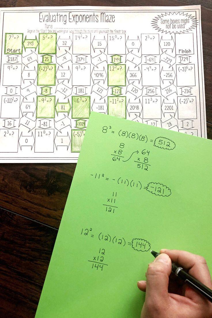 Evaluating Exponents Maze Worksheet Math Addition Worksheets Exponent Worksheets Algebra Worksheets