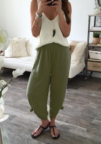 Army Green эластичный пояс Lounge штаны