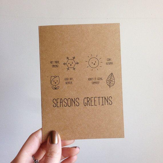 Seasons Greeting Pun Christmas Card by SubstellarStudio on ...