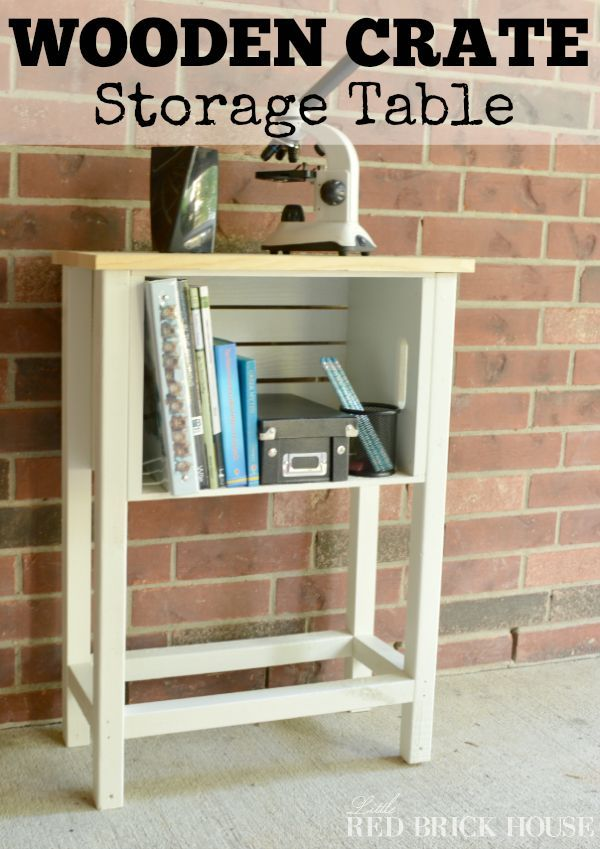 Make a storage table with wooden crates. Perfect for craft / school supplies or even as a night stand!