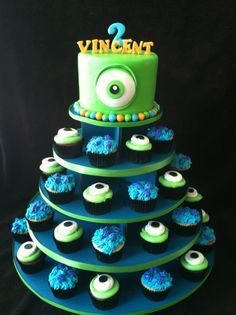 monster university cake ideas | Monsters inc cupcake tower