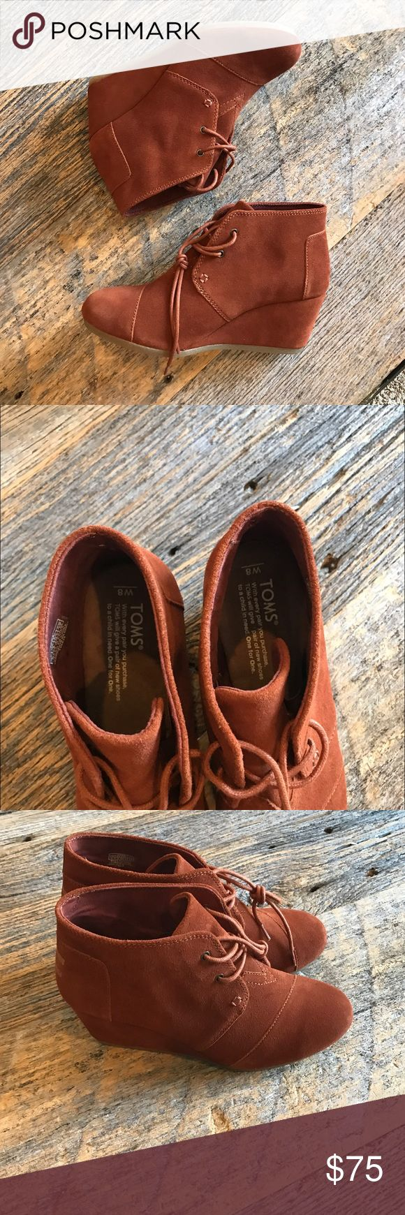 Toms Desert Wedges - Cognac Like new, only tried on. No box or trades. TOMS Shoes Ankle Boots & Booties