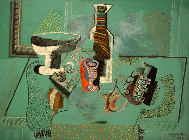 neon-fruit-supermarket:  Pablo Picasso. Green Still Life. Avignon, summer 1914