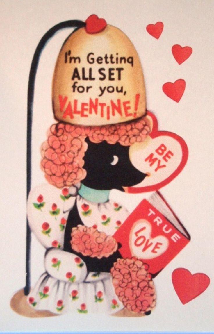 Vintage ValentinePoodles Vintage, Vintage Valentines, Design Vintage, Vintage Beautiful Shops, Vintage Holiday, Poodles Hair, Vintage Poodles, Black Poodles, Poodles Valentine
