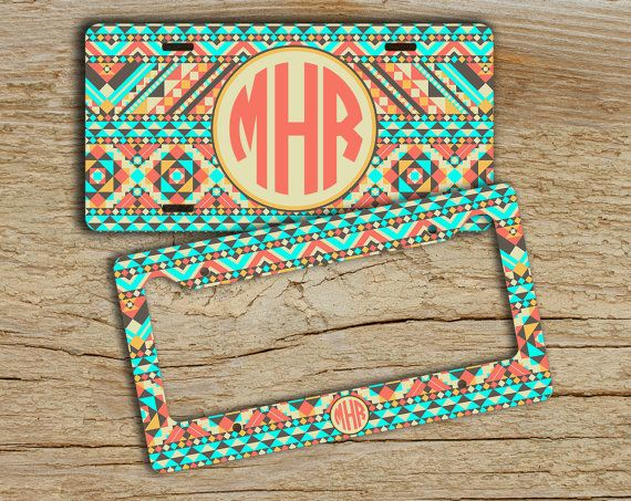Hostess gift, License plate or frame, Personalized front car tag, Aztec tribal light aqua tan, Monogram car tag, Bike license plate (1272)