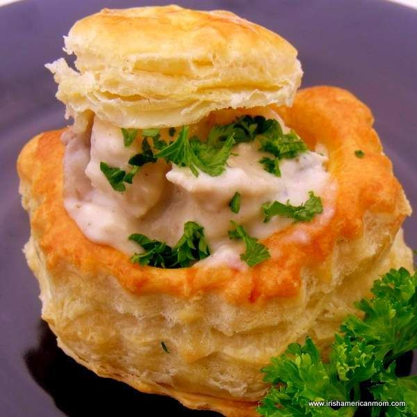 Puff pastry shells filled with chicken and mushrooms in a creamy white wine sauce remind me of Irish Christmas parties.