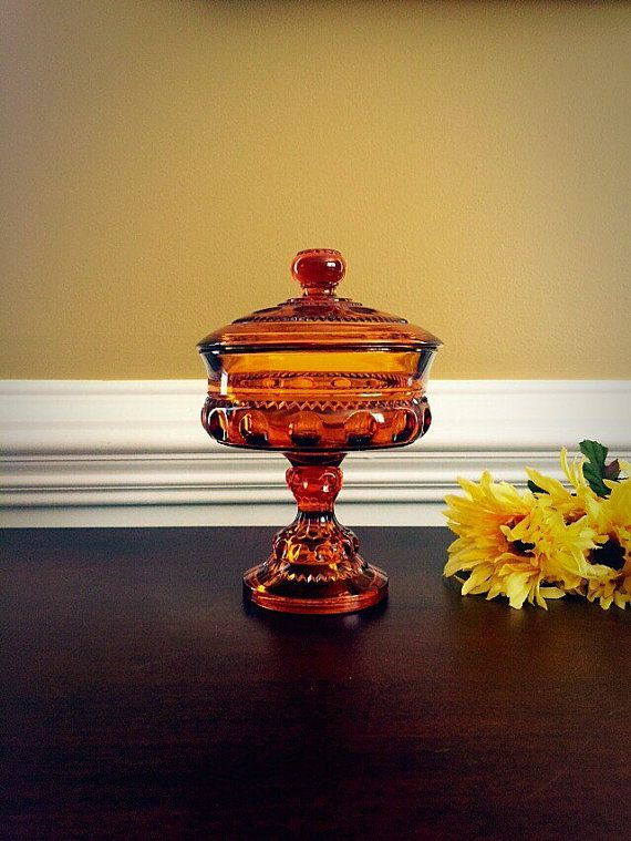 Kings Crown Thumbprint Amber Glass Candy by FelixVintageMarket