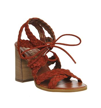 Office Axis Plait Strap Flare Heel Sandals Rust Suede - High Heels