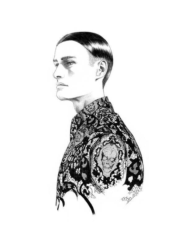 Illustration.Files: Alexander McQueen S/S 2014 Menswear by Florian Meacci
