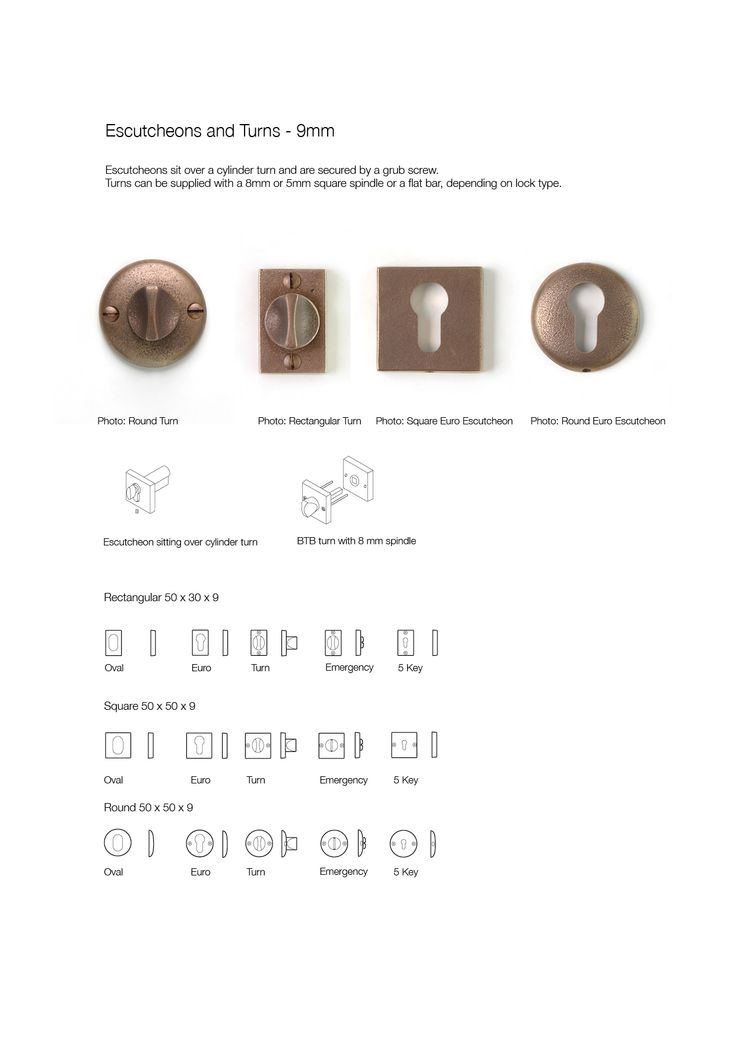 Bronze Escutcheons and Turns, showing dimensions and fitting instructions, by Black Sand Bronze