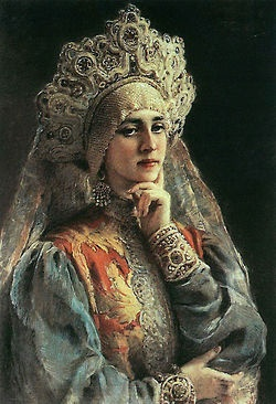 portrait of a royal Russian woman in kokoshnik.