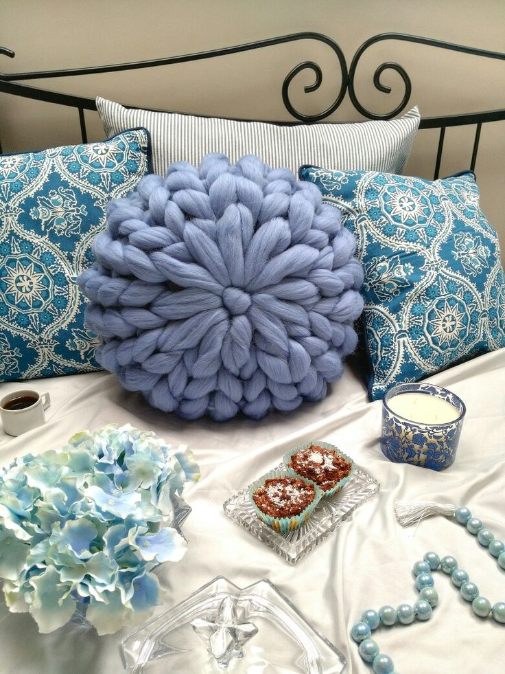 Blue merino wool cushion #handmade #pillow #merinowool #cozy #wooldecor #homedecor