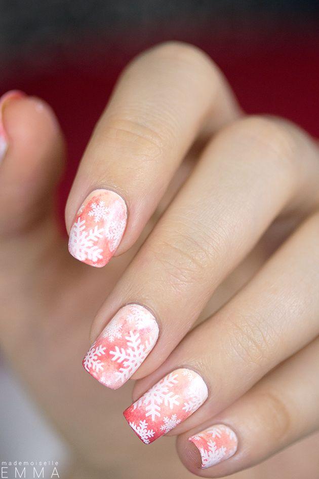Pink Snowflake Nails for Christmas