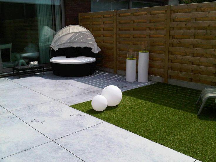 Jopo Beton - Realisaties gepolierd beton | terras grijs + tegels 1 * 1,5