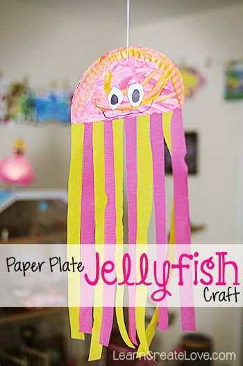 { Paper Plate Jellyfish Craft }Students make this craft, Hang at various heights from the ceiling and put fic and non-fic books display underneath.