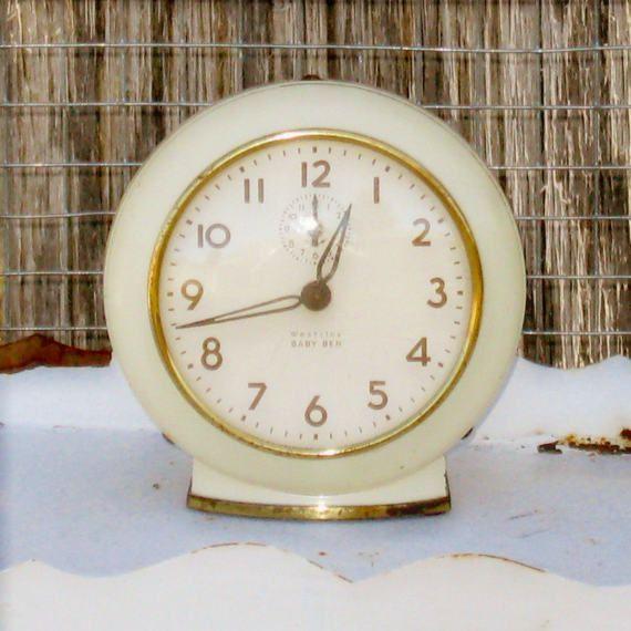 Vintage Windup Alarm Clock Farmhouse Clock by CherryPrairie
