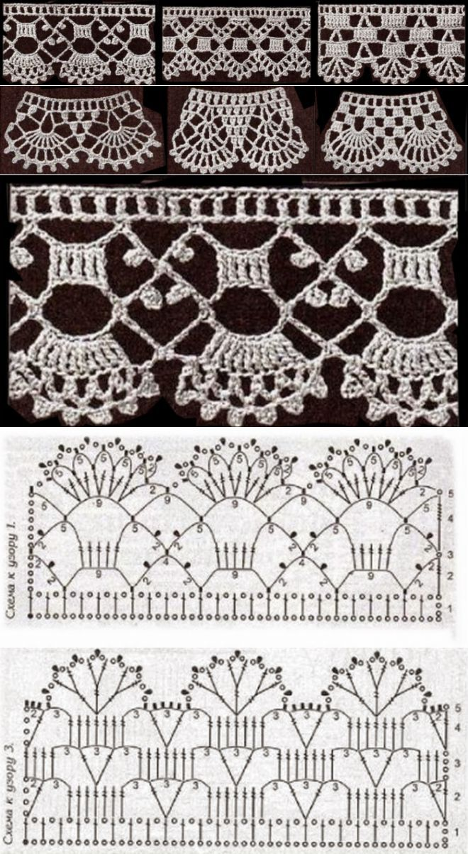 Puntilla, borde crochet - manteles cortinas mantillas / Crochet lace border edge