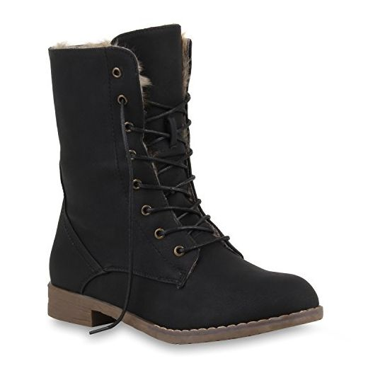 Damen Stiefeletten Worker Boots Leder-Optik Schnürstiefeletten Camouflage Verlours Schuhe 109655 Schwarz Agueda Autol 38 | Flandell® - Stiefel für frauen (*Partner-Link)