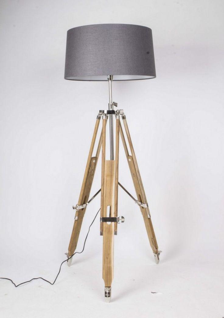 Stehleuchte höhenverstellbar im Landhausstil, Dreibein Stehlampe mit einem Lampenschirm, Höhe 103-200 cm - Stehleuchten - Innenleuchten - Leuchten