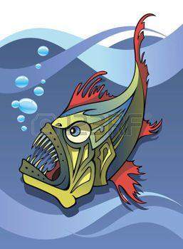 oceaan%3A+Eng+diep+water+vissen%2C+een+visser%2C+met+oceaan+achtergrond%2C+vector+illustratie+Stock+Illustratie
