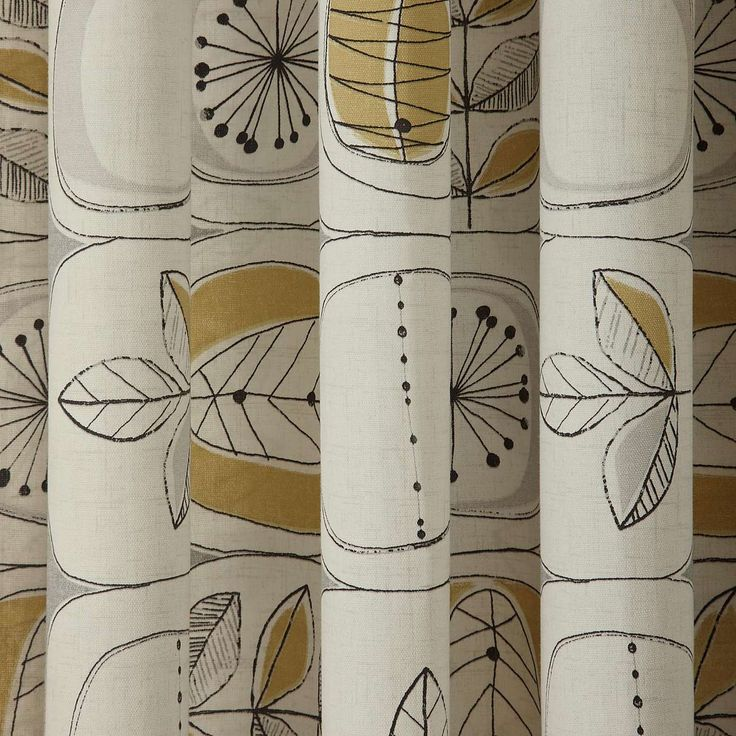 Modern Nature Ochre Lined Eyelet Curtains | Dunelm