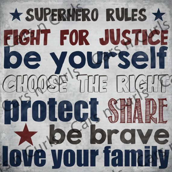 Superhero Rules Boy's Bedroom Decor by CarsnCurls on Etsy, $5.00