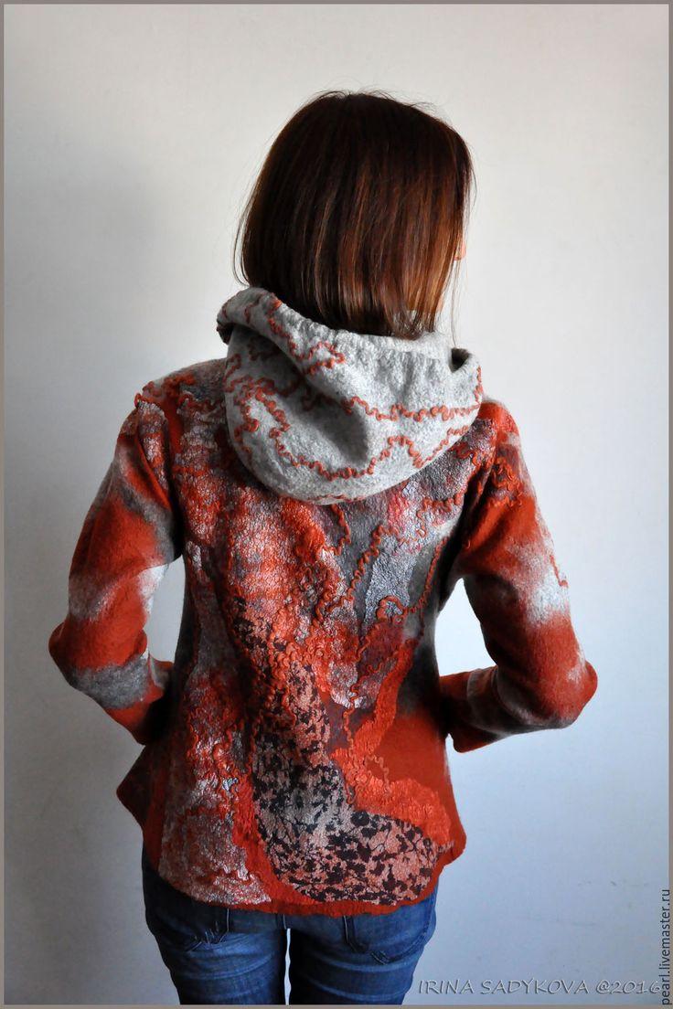 """Купить Свитер """"Осенний блюз"""" - комбинированный, абстрактный, серый, рыжий, свитер, свитер валяный, войлок"""
