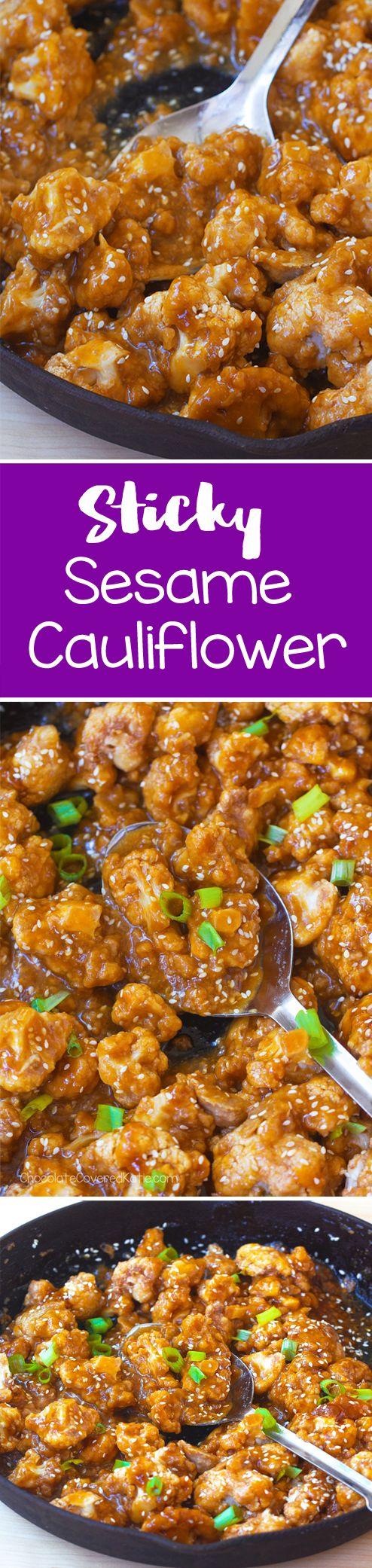 Sticky Sesame Cauliflower. The sauce is so addictive!