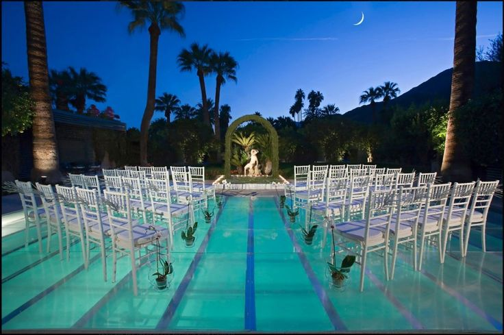 Rent a plexiglass pool cover and have your wedding ceremony, cocktail hour or entire reception on top of the pool!     Clear pool covers make for a look that's chic and modern, and are sure to impress your guests.